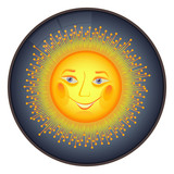 Happy sun icon - vector illustration