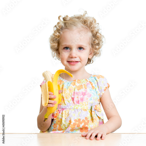 kid girl eating banana