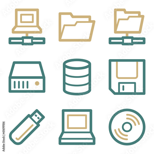 Drive storage web icons, two color series