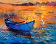 Leinwandbild Motiv Boat and ocean