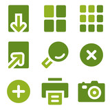 Image viewer web icons set, green series