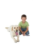 Cute little boy kneeling with his labrador dog smiling at camera