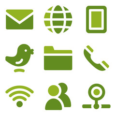 Communication web icons set, green series