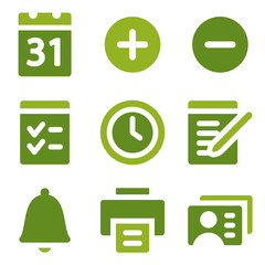 Organizer web icons set, green series