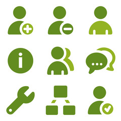 Users web icons set, green series