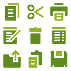 Document web icons set, green series