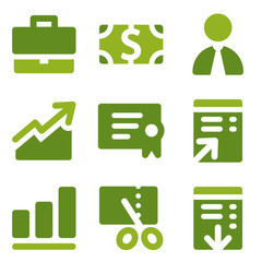 Finance web icons set, green series