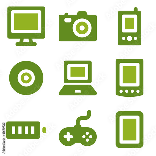 Electronics web icons set, green series