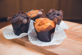 Delicious muffins on the table.
