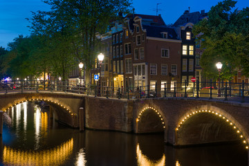 Bridges in Amsterdam at night
