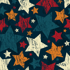 grunge star seamless pattern