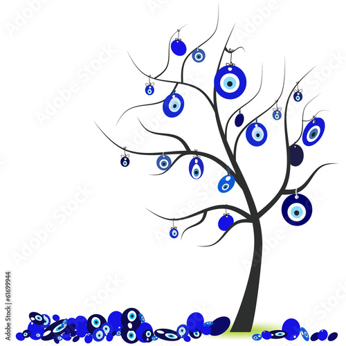 Tree with eye bead vector illustration