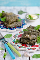 Dolma on turkish plates