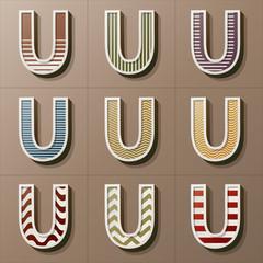 Set of Retro Style Alphabet U, Eps 10 Vector, Editable for Any B