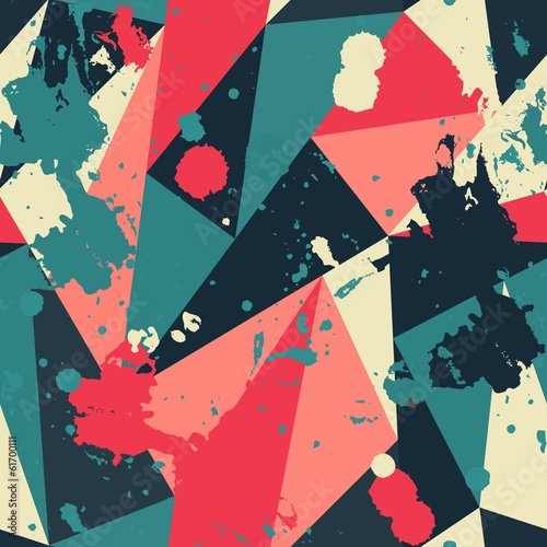 Fototapeta retro triangle seamless pattern with blob effect