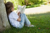 Rear view of girl reading book in park