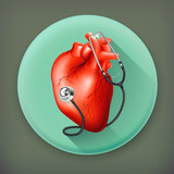 Heart and stethoscope, long shadow vector icon