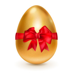 Golden egg with red bow