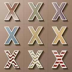 Set of Retro Style Alphabet X, Eps 10 Vector, Editable for Any B