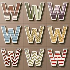 Set of Retro Style Alphabet W, Eps 10 Vector, Editable for Any B