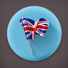 Flag of the United Kingdom, long shadow vector icon