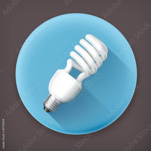Energy saving lamp, long shadow vector icon
