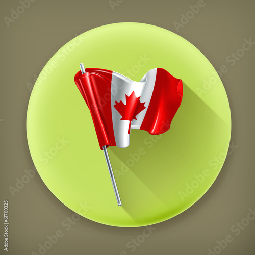 Flag of Canada, long shadow vector icon
