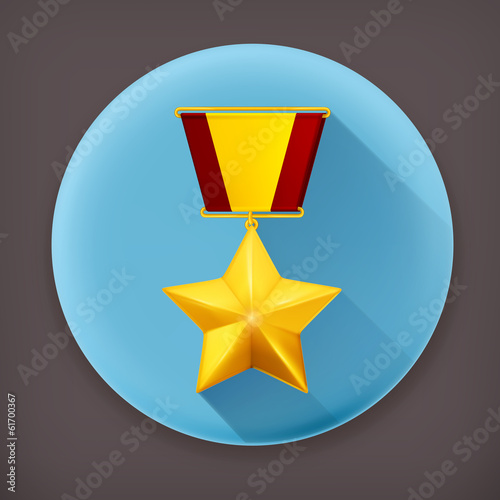 Gold star, long shadow vector icon