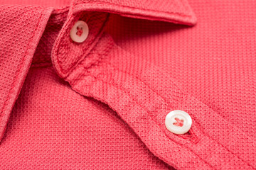 Coral Red Men Shirt Close Up Details