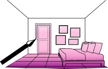 vector illustration of painting interior bedroom