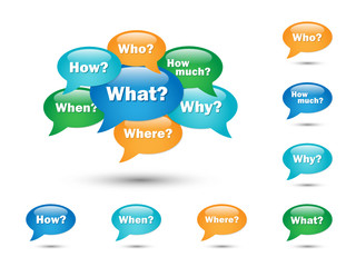 QUESTIONS SPEECH BALLOONS (what where when who why how much)