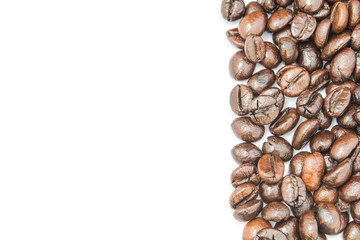 Coffee beans frame on white background