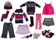 Collage of girl clothing.