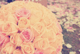 Vintage roses bouquet arrange for wedding  decoration in garden