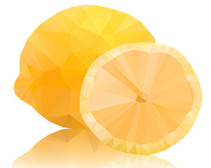 Lemon of polygons on a white backgroun