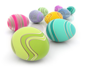 heap of colored Easter eggs