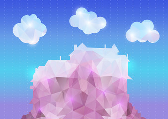 Abstract polygonal house with clouds and background