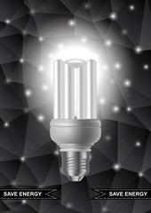 Energy saving bulb with triangle background