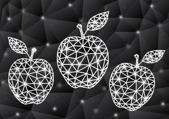 Abstract triangle apples with background