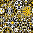 Flower mandalas seamless pattern in black white and yellow - 61701782