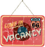 vintage vacation sign, route 66, vector illustration