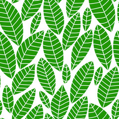 Fresh green leaves on white seamless pattern, vector