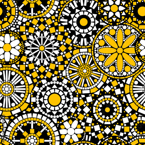 Flower mandalas seamless pattern in black white and yellow