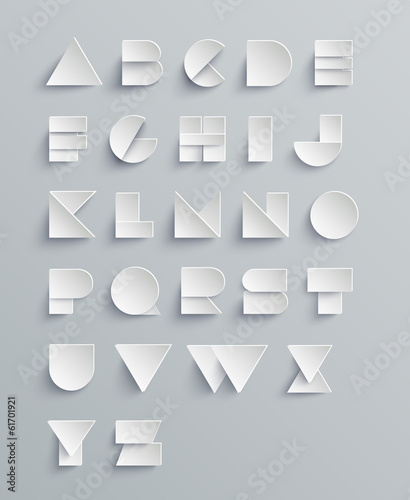 Vector Paper Alphabet Set