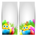 Collection of Two Vector Easter Cards with Chick