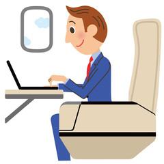 飛行機の中で仕事をするサラリーマン