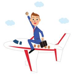 飛行機に乗って出張するサラリーマン