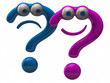 Illustration of purple happy and blue sad question mark