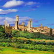 beautiful Italy series, view of  San Gimignano - medieval town o