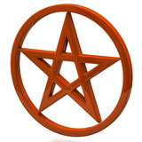 Orange pentagram sign isolated on white background
